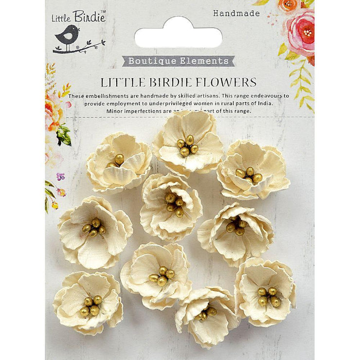 Handmade Flower Embossed Daisies-  Moon Light 10Pc