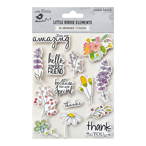 Watercolor Sticker Collection - Floral Wishes 14Pc