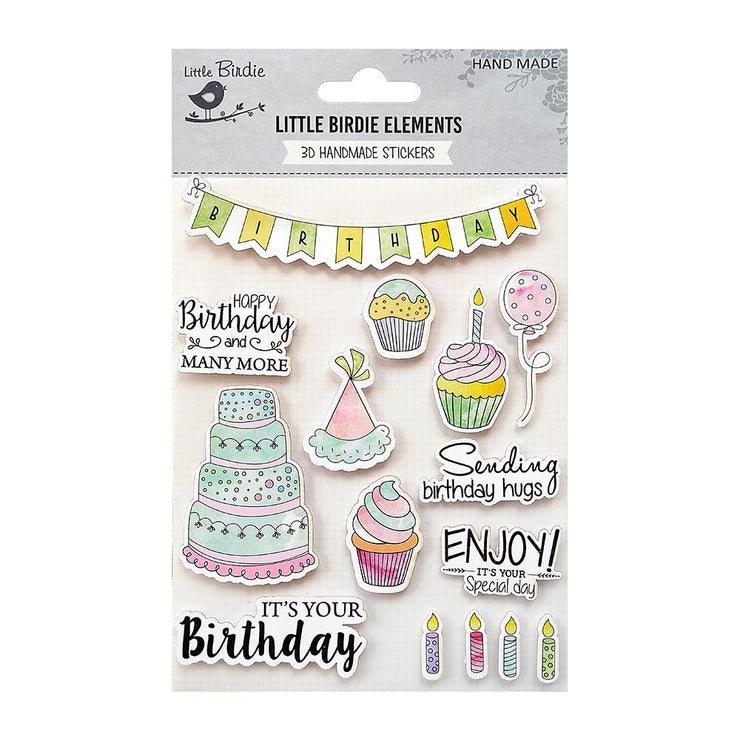 Watercolor Sticker Collection - Birthday Wishes, 15Pc