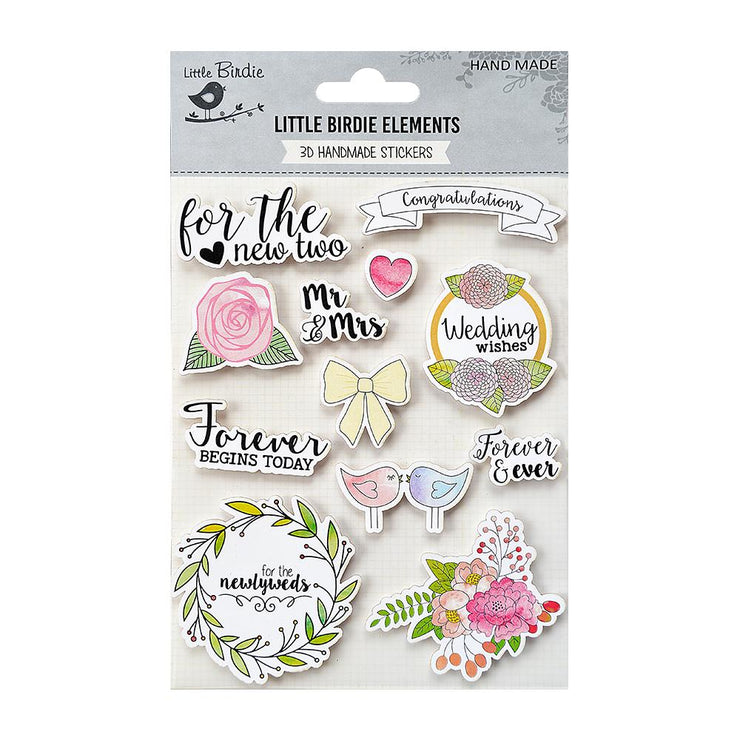 Watercolor Sticker Collection - Wedding Wishes, 12Pc