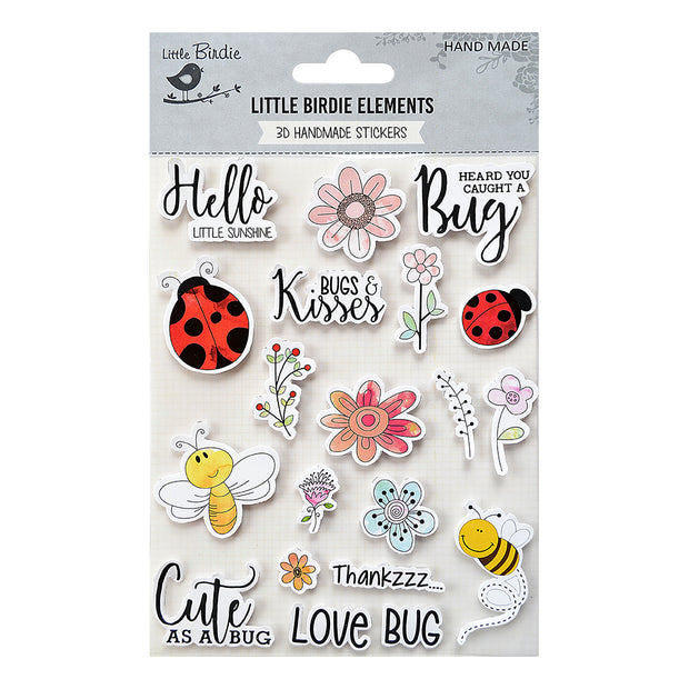 Watercolor Sticker Collection - Flowers & Bugs 20Pc