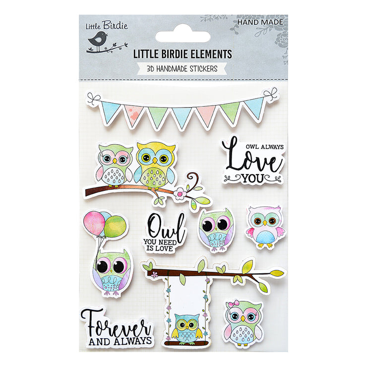 Handmade Love you Owl Watercolor 3D Self-adhessive Stickers
