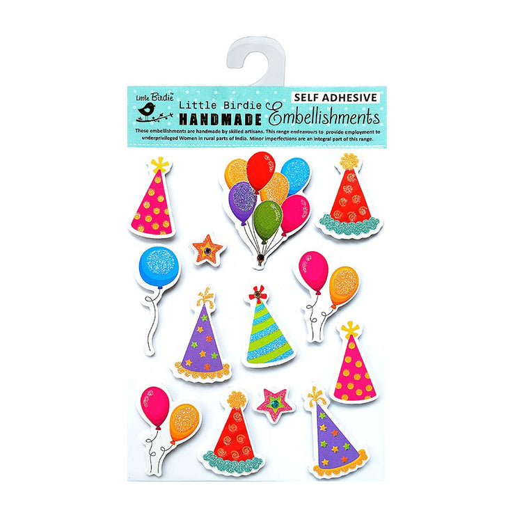 Birthday Hats and Balloons Embellishments - 13pcs