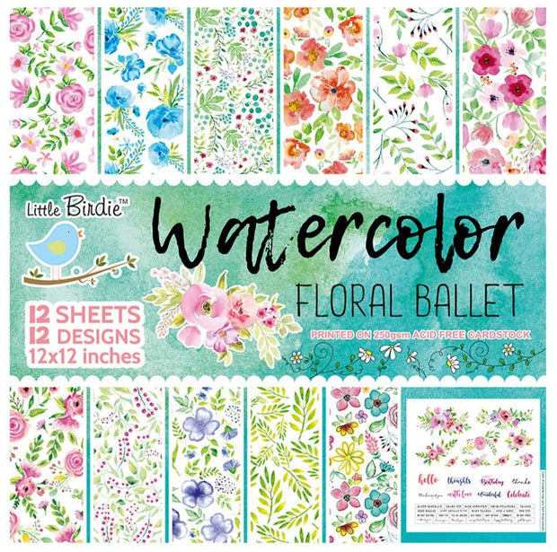 Watercolor Floral Ballet Paper Pack- 12x12inch, 12sheets, 250gsm