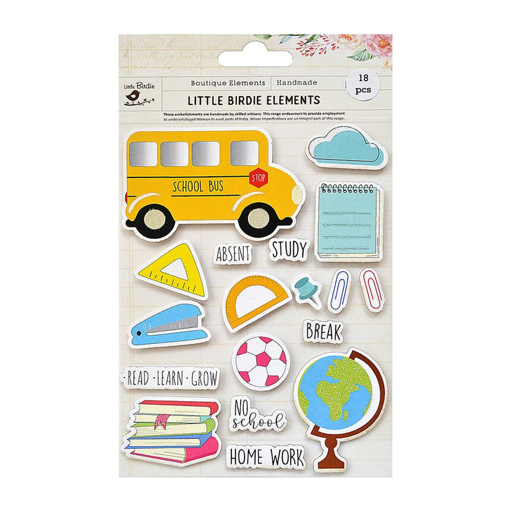 School Study Collection Embellishment - 18Pc