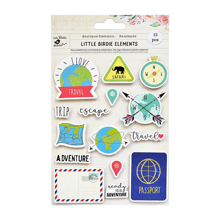 I Love Travel Sticker Embellishment 15Pc