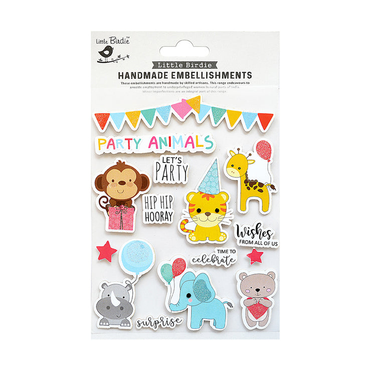 Handmade Lets Party Sticker Embellishment