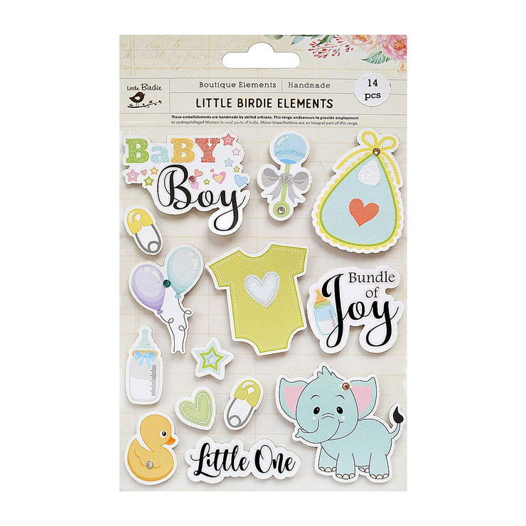 Little One Baby Boy Sticker Embellishment 14Pc