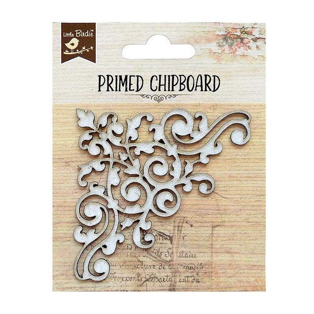 Primed Chipboard - Damask Corner, 1pc
