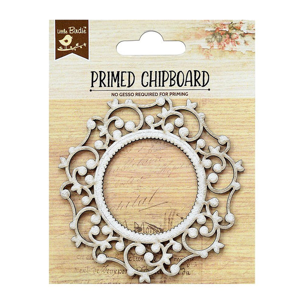 Primed Chipboard- Elegant Swirls Round Frame, 1pc