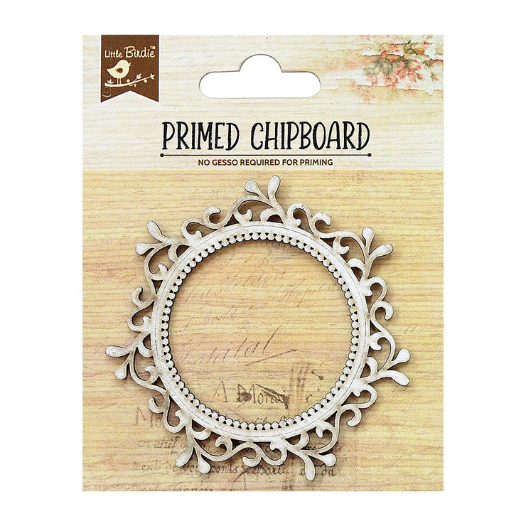 Primed Chipboard- Round Frame, 1pc