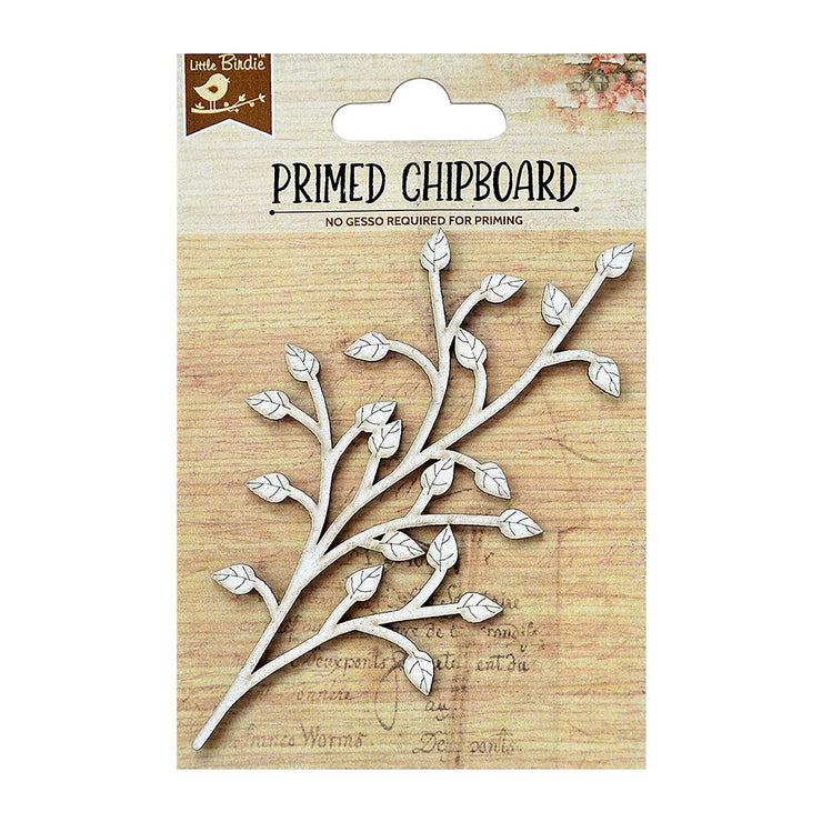 Primed Chipboard- Spring Leaf, 1pc