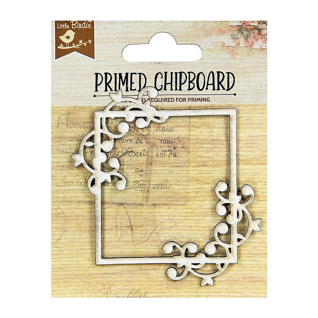 Primed Chipboard- Dancing Script Square Frame, 1pc