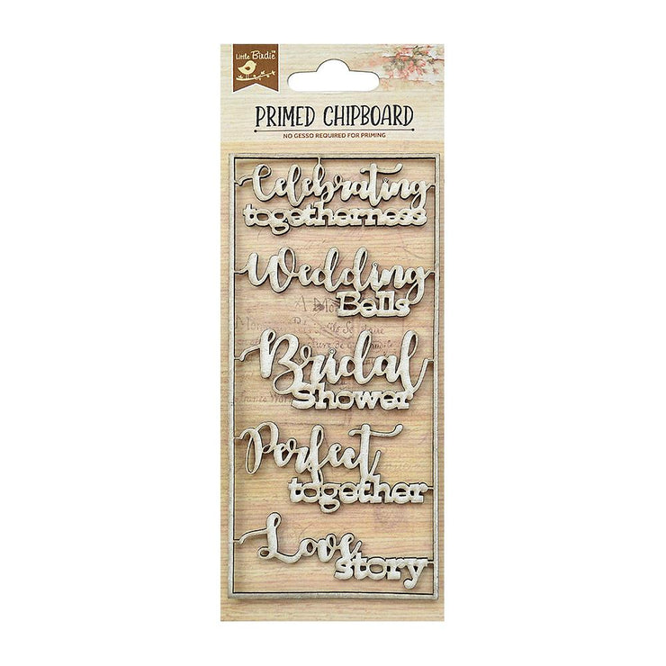 Primed Chipboard- Wedding Bells, 1pc