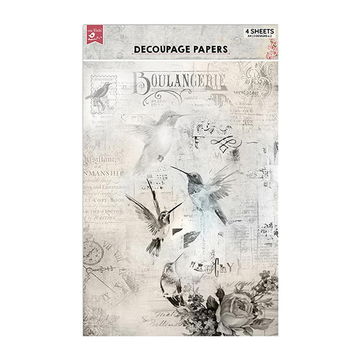 Decoupage Papers A4 - Touch Of Nature 2 Designs, 2 Sheets Each