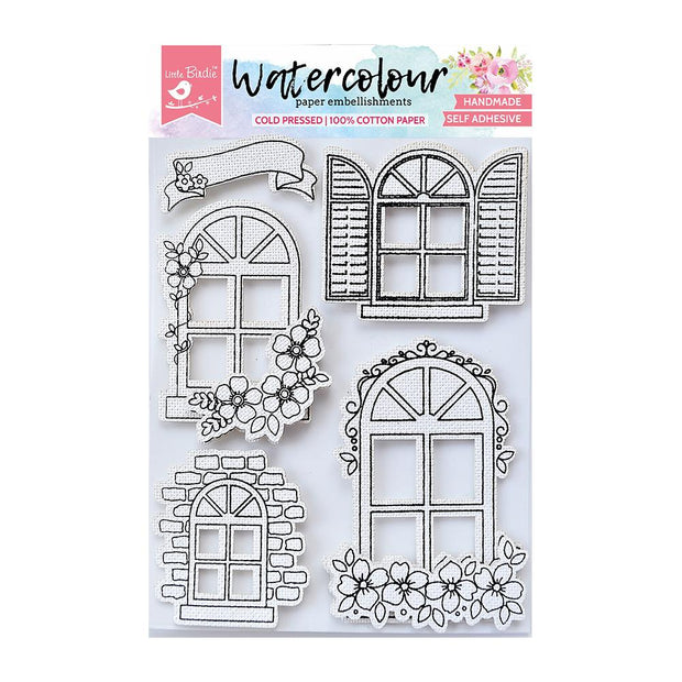 Watercolor Embellishment Self Adhesive - Arch Windows 5Pc