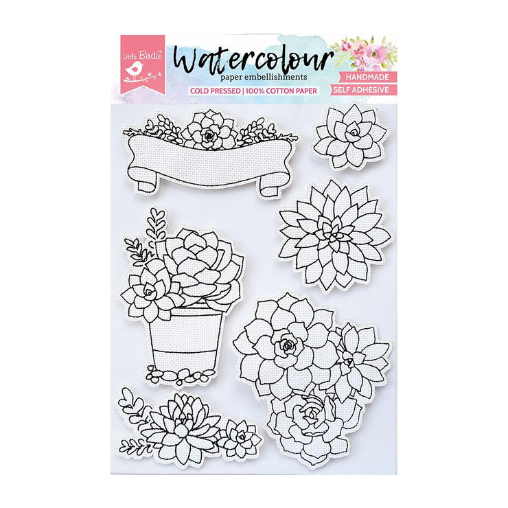 Watercolor Embellishment Self Adhesive - Succulent Garden 6Pc