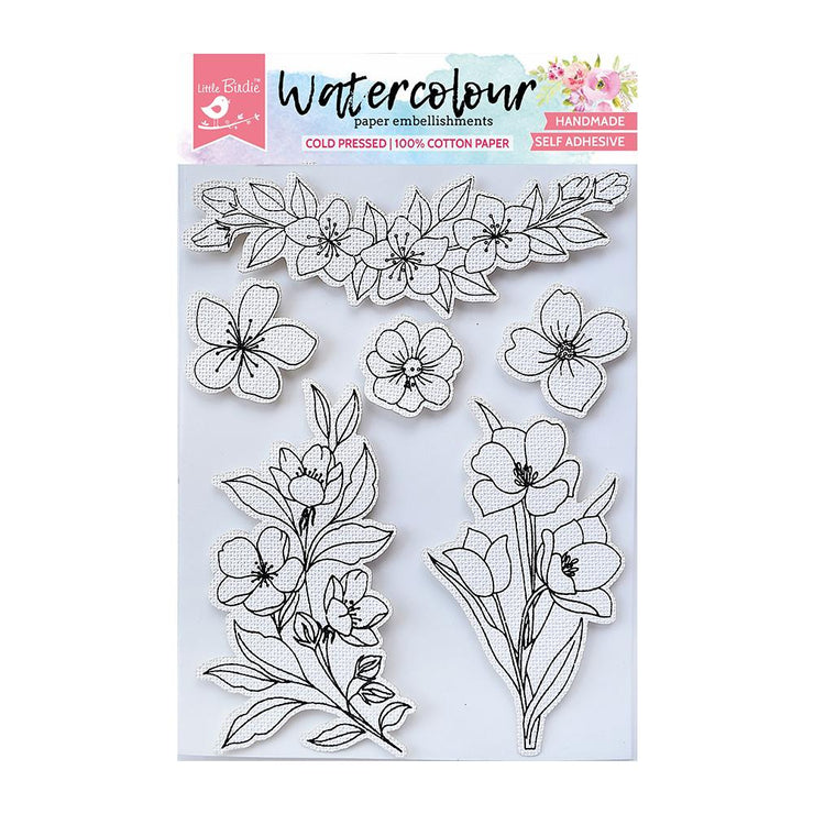 Watercolor Embellishment Self Adhesive - Abloom 6Pc
