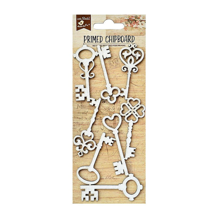 Primed Chipboard- Vintage keys, 1pc