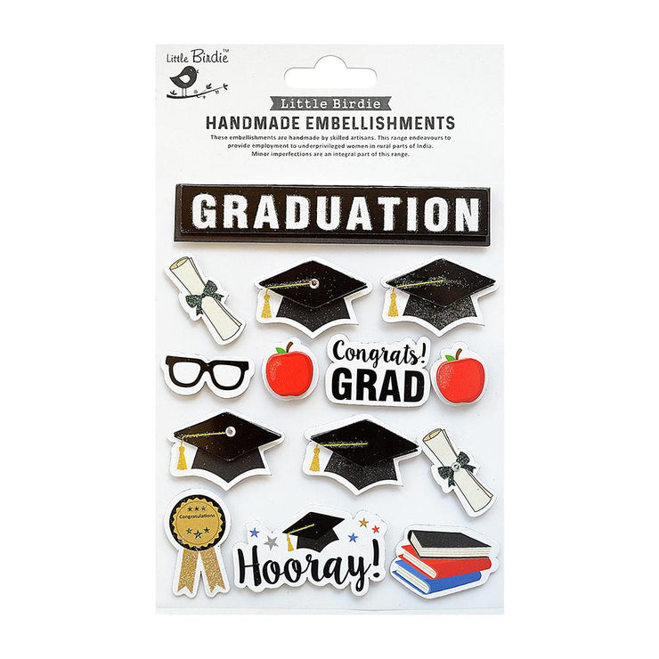 Graduation Wishes Embellishment - 14pc