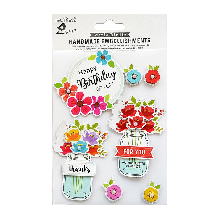 Blooming Birthday Wish Floral Embellishment - 7pc