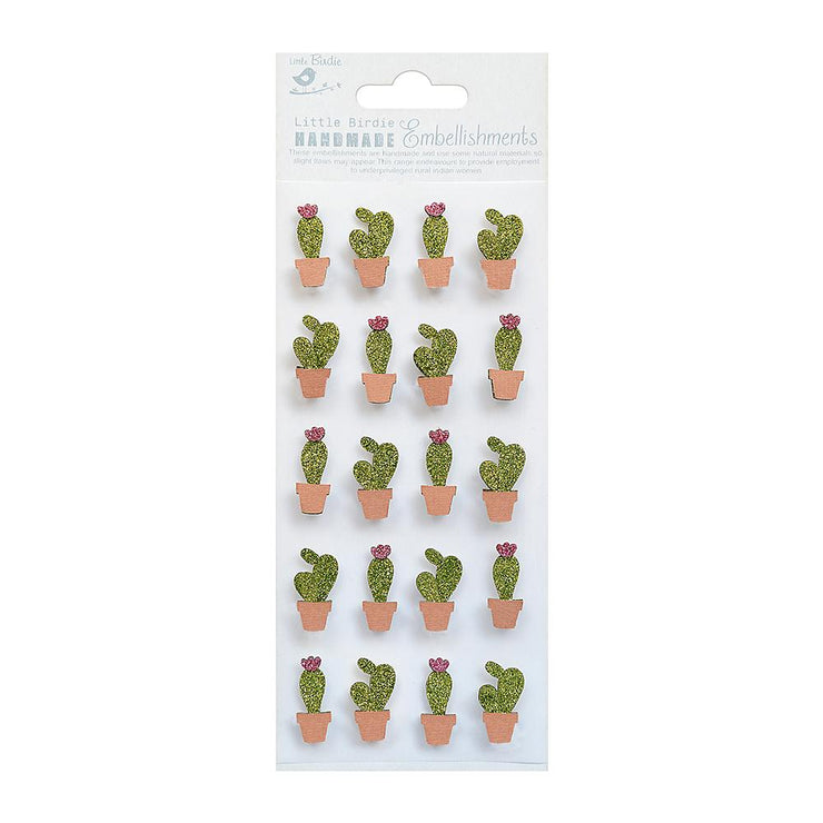 Mini Glitter Embellishments - Cacti 20pc
