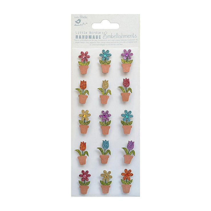 Mini Glitter Embellishments - Blossom 15pc
