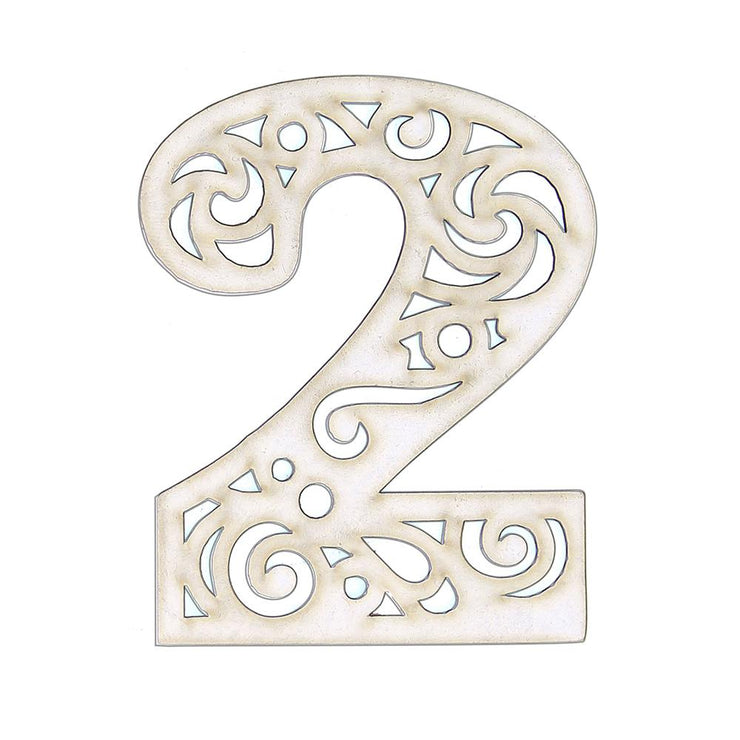 Primed Ornate Number Chipboard- 2, 1pc
