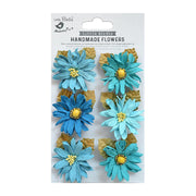 Little Birdie Handmade Flower - Alvero Aqua Medley 6pc