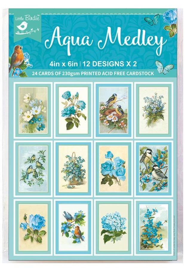 Journaling Cards Aqua Medley- 4in x 6in, 24sheets, 12design, 250gsm