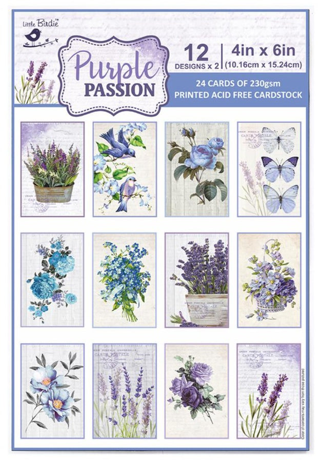 Journaling Cards 4in x 6in 12desx2 Purple Passion 24sheets