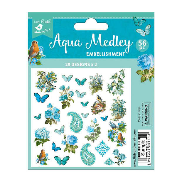 Ephemera Aqua Medley 56pc Embellishments