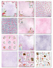 Paper Pack Fairy Sparkle- 12in x 12in, 12sheets, 12 Designs, 250gsm