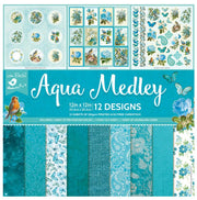 Paper Pack Aqua Medley- 12in x 12in, 12sheets, 12 Designs, 250gsm