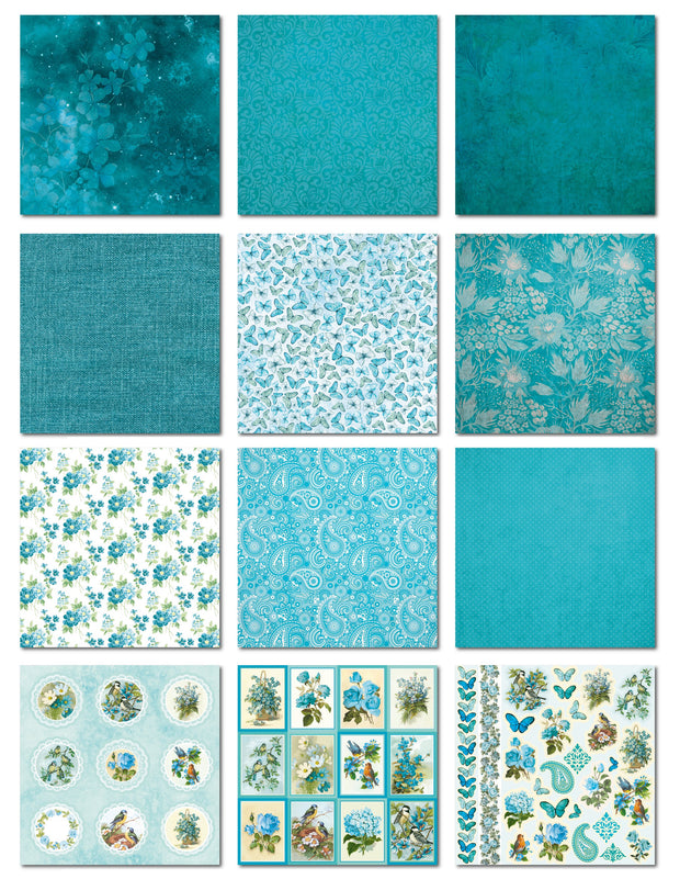 "Aqua Medley Collection - Printed Cardstock Pack 12""x12"", 12 Sheets"