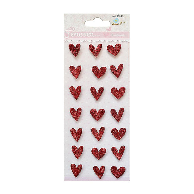Glitter Embellishments - Hearts, 21pc