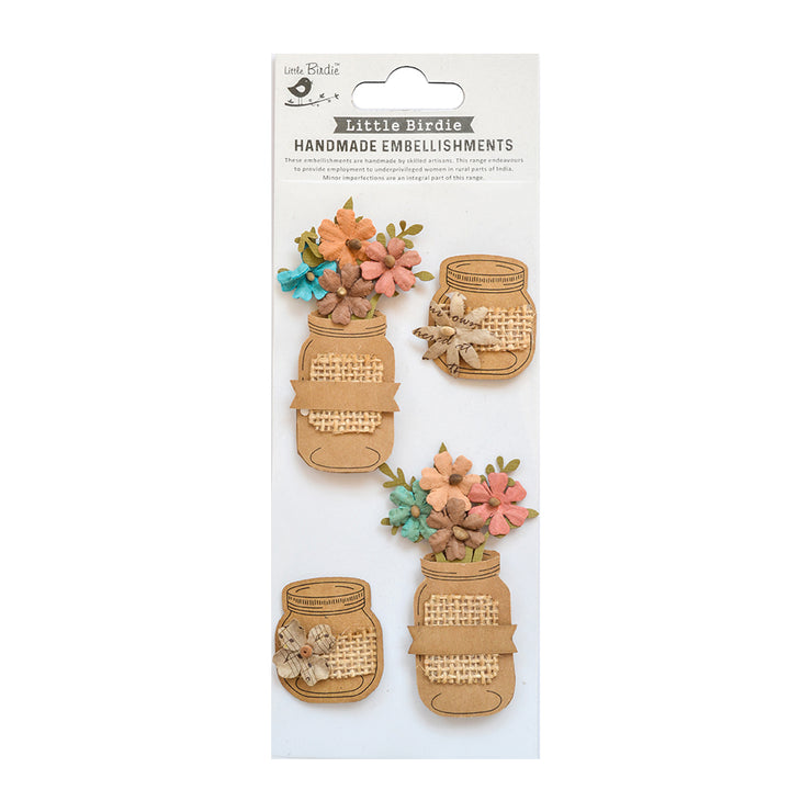 Shades of Brown Floral Jar Self-adhessive Stickers