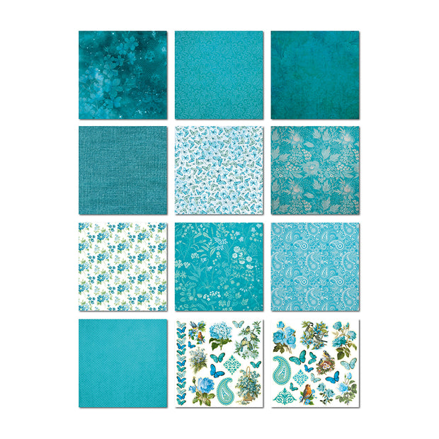 Paper Pack  Aqua Medley- 6in x 6in, 24sheets, 12design, 230 gsm