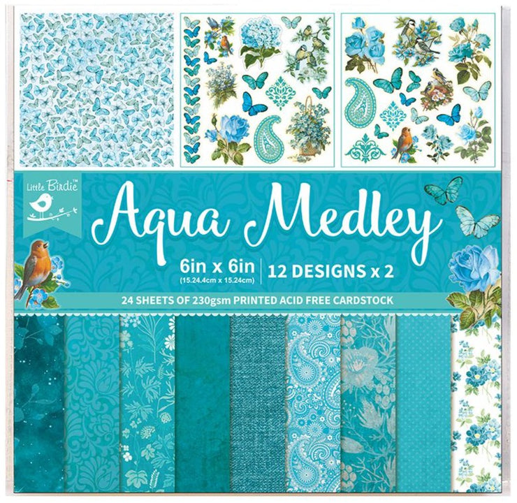 "Aqua Medley Collection - Printed Cardstock Pack 6""x6"", 24 Sheets"