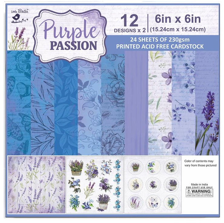 Paper Pack Purple Passion- 6in x 6in, 24sheets, 12 Designs, 230 gsm