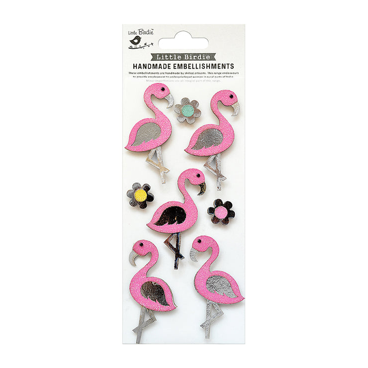 Fancy Flamingo Collection Embellishment - 8Pc