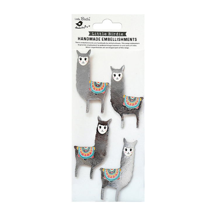 Lovable Lamas Foil Embellishment - 4Pc