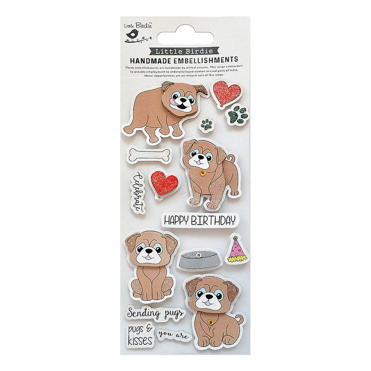 Pugs and Kisses Birthday Wishes Embellishment - 16Pc
