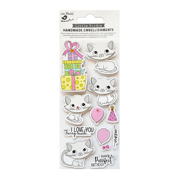 Self Adhesive Stickers - Purrfect Birthday 12pc