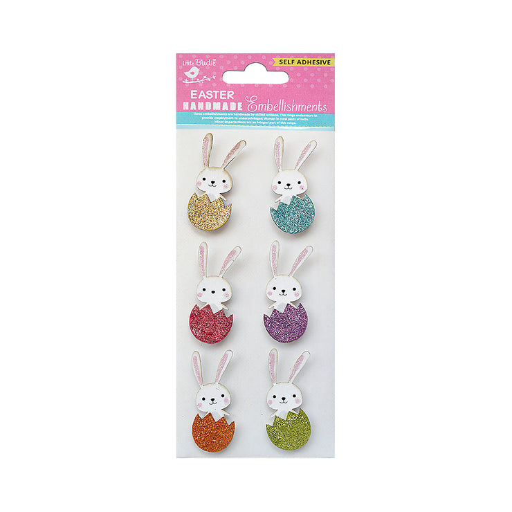 Self Adhesive - Glitter Bunny Embellishments 6pc