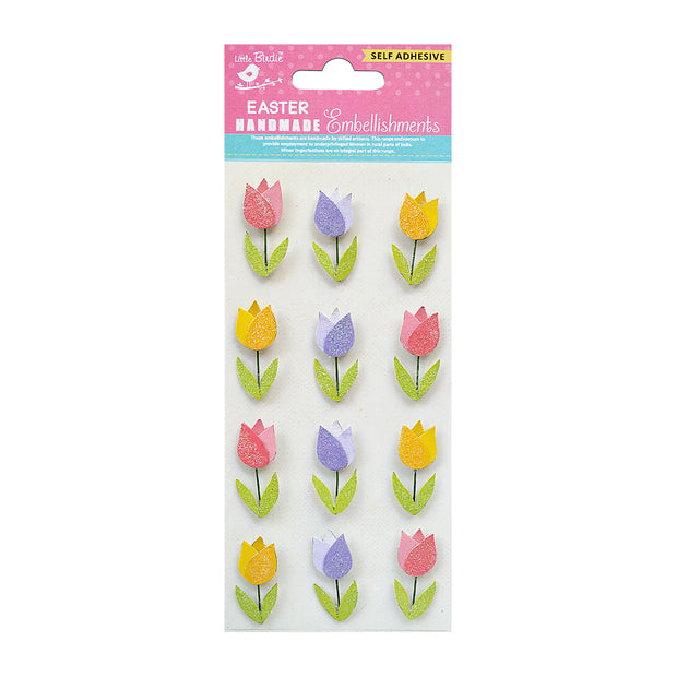 Self Adhesive Glitter Joy Tulips 12pc