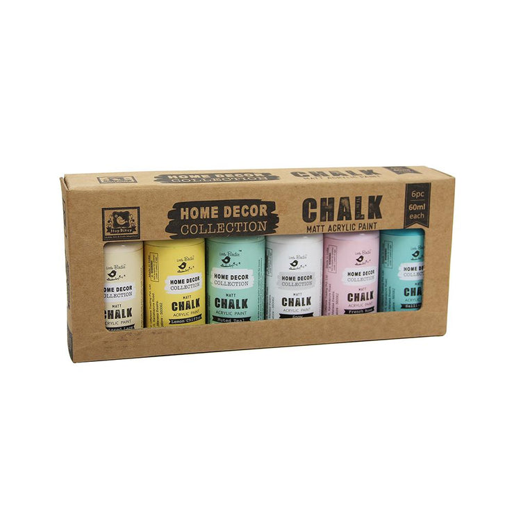 Little Birdie Acrylic Matt Chalk Paint Set -  Pastel Shades 60ml,  6pc