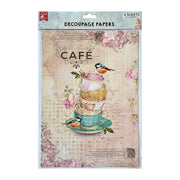 Decoupage Paper A4 - Birdie Cafe / Love For Food, 2 Designs, 2 Sheets Each