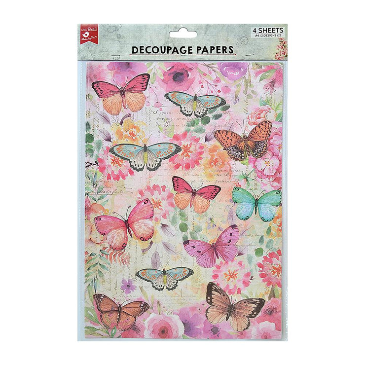 Decoupage Paper A4 - Butterfly Flight / Graceful 2 Designs, 2 Sheets Each