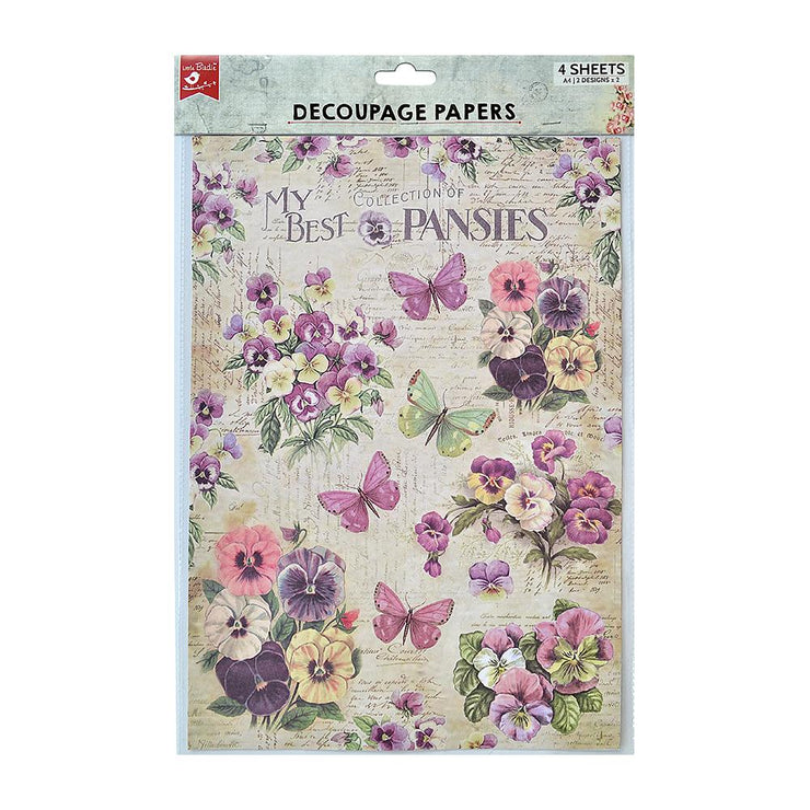Decoupage Paper A4 - Pretty Pansies / Pansy Garden 2 Designs, 2 Sheets Each